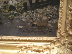 MONET- For some reason, I found it very hard to comprehend what I was looking at, just inches in front of me.  It's a real Monet...it just seemed right to zoom in on his signature.