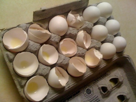 This is how I found the eggs when I pulled them out of the fridge! Seriously? Can you believe this? I did NOT do this.