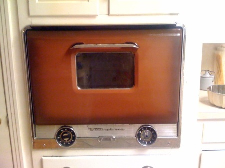 Preheat the origianl-to-the-house late 1950's oven, which is in desperate need of cleaning, to 325.